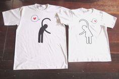 DESIGN T-SHIRT COUPLE LOVE THEME UNISEX MEN &WOMEN SHORT SLEEVE COTTON CUSTOM XL #ShortSleeve