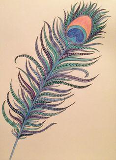 Zen tangle peacock feather inktense