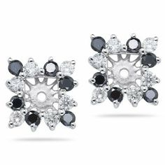 0.68 Ct Black & White Diamond Cluster Earring Jackets in 14K White Gold Vogati. $757.97