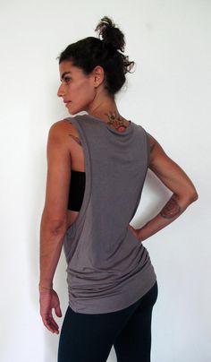 Scoop neck vest dress - Yoga clothes - dance - yoga - active wear. Offwhite, black, stripe, topegrey, lilac. Onesize