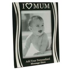 Personalised I Love Mum Silver Plated Black Photo Frame 8 x 10 inches