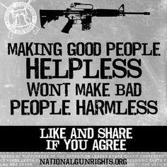 Making good people helpless won't make bad people harmless.