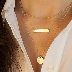 estilo europeu de moda geométrica paetês de metal em forma de múltiplas camadas colar - EUR € 1.95