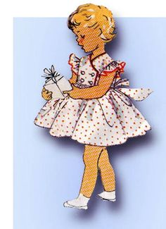 1950s Vintage Simplicity Sewing Pattern 4988  Toddler Grisl Party Dress  Size 3 #Simplicity #DressPattern