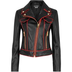 Womens Leather Jackets Boutique Moschino Black And Red Leather Biker... (4.375 RON) ❤ liked on Polyvore featuring outerwear, jackets, leather moto jacket, leather biker jacket, studded biker jacket, leather motorcycle jacket and cropped jacket