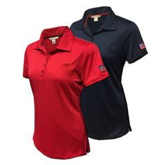 bb96b78aa0a98 Ladies Trident and American Flag Performance Polo Shirt