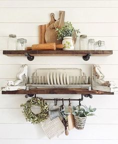 We sure do love beautifully styled open shelves chock full of style and rustic charm, don't you? Our Farmer's Plate Rack fits right in to these pretty shelves! Dining Room Shelves, Kitchen Shelf Decor, Kitchen Shelves, Kitchen Ideas, Vintage Kitchen Decor, Vintage Decor, Kitchen Cabinets, Farmhouse Style Kitchen, Farmhouse Decor