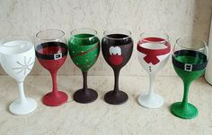 4 Glittered Christmas glasses