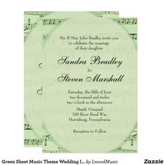 Green Sheet Music Theme Wedding Invitation 20% Off www.leatherwooddesign.com