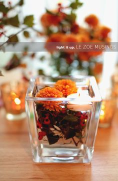 DIY floating candle holder. Tutorial by Le Zoe Musings. seasonal candle centerpieces