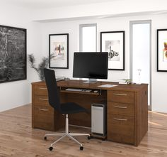 71 Double Pedestal Executive Desk In Tuscany Brown