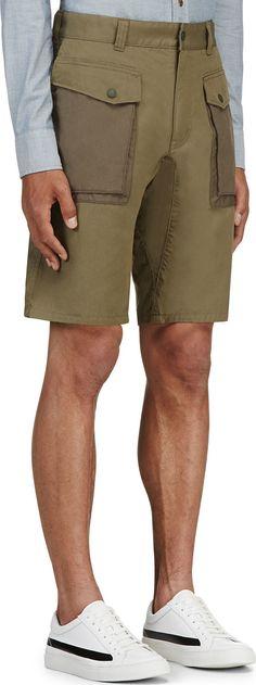 White Mountaineering: Khaki Cargo Shorts