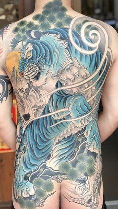 Full Back Tattoos, Full Body Tattoo, Body Tattoos, Japanese Tiger Tattoo, Tattoo Japanese Style, Tiger Tattoo Design, Tattoo Designs, Tatoo Styles, Back Piece Tattoo