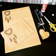Kraft kağıttan mektup zarfı mektup kağıdı yapımı