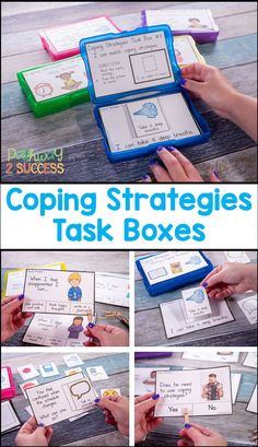 Coping Strategies activities with task boxes to help kids learn how to manage their emotions and stress Kids will identify practice and discuss coping strategies Some str. Classroom Behavior, Autism Classroom, Special Education Classroom, Counseling Activities, Therapy Activities, School Counseling, Therapy Worksheets, Coping Skills, Life Skills