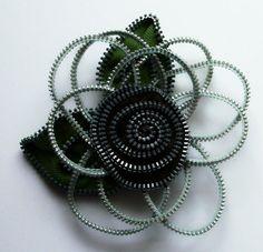 Silver Floral Brooch / Zipper Pin by ZipPinning 1997 by ZipPinning, $40.00