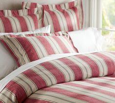 Joshua Stripe Bedding in Red | Pottery Barn 2013 catalog