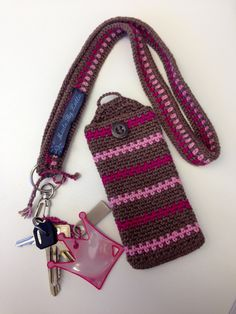 Crochet phone case and key band.