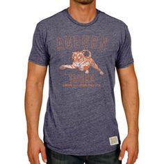 Men's Original Retro Brand Heather Navy Auburn Tigers Vintage Pouncing Tiger Tri-Blend T-Shirt