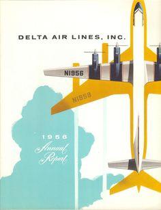 Delta Air Lines Annual Report 1956 // illustration, graphic Design Visual, Web Design, Layout Design, Design Art, Vintage Ads, Vintage Posters, Vintage Designs, Vintage Airline, Vintage Graphic