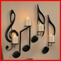 Candle sconces make unique wall decor! Browse our wall candle sconces, decorative wall sconces and candle wall decor. All yours with online credit! My New Room, My Room, Living Room Decor, Bedroom Decor, Living Rooms, Apartment Living, Piano Room Decor, Music Notes, Music Music