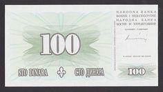 BOSNIEN UND HERZEGOWINA - BOSNIA -  100 Dinara 1994 UNC P44  SELTEN