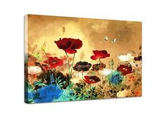Wieco Art - Canvas Print the Blooming Poppies, Stretched and Framed Artwork, Modern Canvas Wall Art Painting on Canvas for Wall Decor and Home Decoration, Floral Picture Canvas Art, 12 by 16inch FL1-3040 Wieco Art