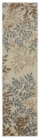 Townhouse Rugs Meadow Leaves Neutral Area Rug, 24 by 96-Inch