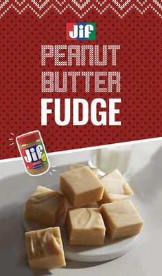 Whip up delicious peanut butter fudge this holiday. It's a seasonal favorite made with creamy Jif Peanut Butter, sugar, butter, evaporated milk, marshmallow creme and vanilla extract. It makes a great gift or addition to your holiday dessert table. It's only 12 minutes to prep and 10 minutes to cook. Get the recipe for this holiday treat now. Fudge Au Beurre De Cacahuètes, Christmas Snacks, Christmas Cooking, Christmas Candy, Fudge Recipes, Candy Recipes, Sweet Recipes, Cookie Recipes, Candy Cookies