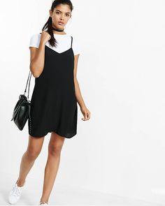 White Tee + Black Slip Dress from EXPRESS