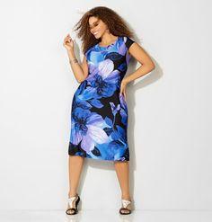S/L VNECK PRINT DRESS, Blue http://www.avenue.com/