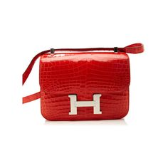 Heritage Auctions Special Collections 23Cm Hermes Geranium Crocodile... ($49,500) ❤ liked on Polyvore featuring bags, handbags, hermes, hermes purse, croc purse, crocodile purse, red crocodile purse and red bag