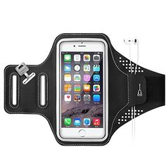 Ancel Sweatproof Ultrathin Lightweight Workout Sports Running Armband (Updated Version) with Earphone Slots Key Holder for iPhone 6 6S (4.7 Inch), 5S 5E, Galaxy S3 S4, Nexus 5, HTC M8 M9 (Black)