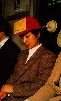 "Japanese silly invention 3. The sign says ""please wake me up at Nishi-Ogikubo train station"""