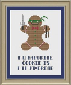 My favorite cookie is ninjabread funny by nerdylittlestitcher, $3.00