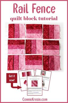 Quilt block tutorial for the 3 by 3 or rail fence block easy to make Three by Three Quilt Block Tutorial is a 9 patch quilt block that is very easy to make - the size of the quilt block is Jelly Roll Quilt Patterns, Patchwork Quilt Patterns, Beginner Quilt Patterns, Quilting For Beginners, Quilt Patterns Free, Quilting Tips, Quilting Tutorials, Machine Quilting, Quilting Designs