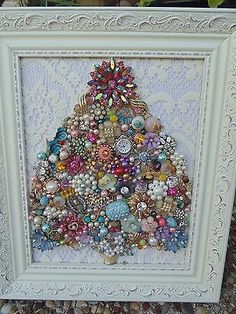 Vintage Jewelry Framed CHRISTMAS TREE *Shabby PINK Star* Cottage White Frame