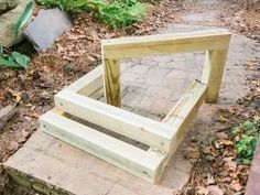 to Build Outdoor Wood Steps Use pea gravel and wood posts to build steps in your yard.Use pea gravel and wood posts to build steps in your yard. Outdoor Wood Steps, Patio Steps, Landscape Stairs, Landscape Timbers, Sloped Landscape, Landscape Design, Garden Design, Sloped Yard, Sloped Backyard