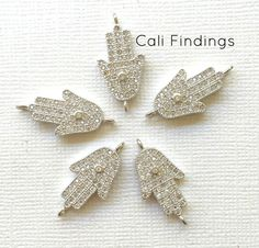 Rhodium Plated CZ Hamsa Connector Pave Hamsa by CaliFindings