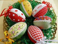 Easter eggs set/ quilted eggs/Easter ornaments/Easter decor/Easter eggs/easter decoration/kimekomi eggs