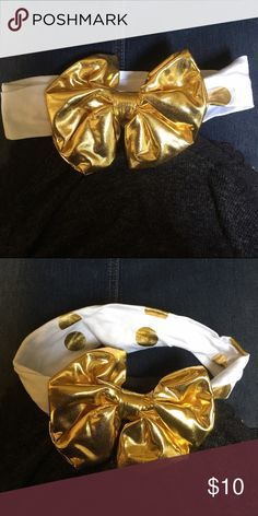 Gold Polka Dot Headband Baby girl headband with Gold now. Stretchy material. Accessories Hair Accessories