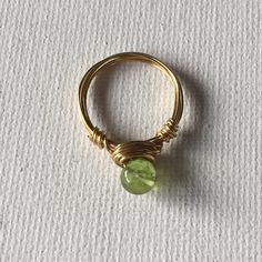 Made a Peridot Gold Wire Wrapped solitaire ring!