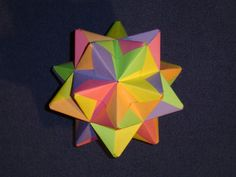 spiked-icosahedron-umbrella Spiked icosahedron Made from modified M. Mukhopadhyay's umbrella dodecahedron module (30 modules).