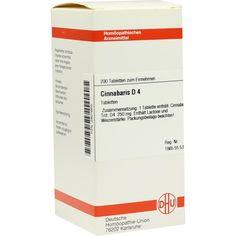 CINNABARIS D 4 Tabletten:   Packungsinhalt: 200 St Tabletten PZN: 02801655 Hersteller: DHU-Arzneimittel GmbH & Co. KG Preis: 10,49 EUR…