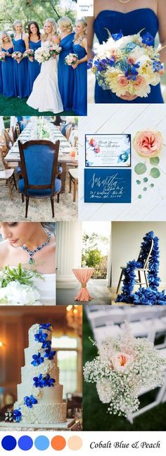What do you think of the colour? Wedding Jewelry {Cobalt Blue & Peach} Wedding Color Inspiration Romantic Rose Quartz and Serenity Wedding Inspiration Mens Peach Color Schemes, Wedding Color Schemes, Blue Wedding Themes, Sapphire Wedding Theme, Blue Peach Wedding, Cobalt Blue Weddings, Cobalt Wedding, Orange Weddings, Sapphire Blue Weddings
