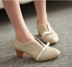 Gizmal Boots - Bow Accent Block Heel Pumps #pumps #heelpumps #bowaccentpumps #blockheelpumps