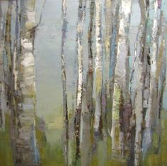 "Barbara Flowers, ""Birch Shapes"", Oil on Canvas, 48x48 - Anne Irwin Fine Art"