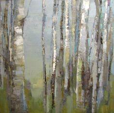 """Barbara Flowers, """"Birch Shapes"""", Oil on Canvas, 48x48 - Anne Irwin Fine Art"""