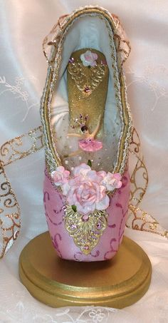 Pink and Gold Ballerina Centerpiece. Ballet Birthday. Ballet Gift. Ballet Centerpiece. Waltz of the Flowers. Ready to Ship.