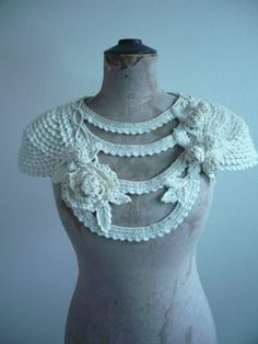 This is inspiring as a way to create freeform crochet tops and jackets. Create a sleeve cap, then use edgings or cord to join them. as well as form the front. ~CAWeStruck